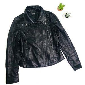 [DKNY] Black Lamb Leather Moto Jacket Size Small